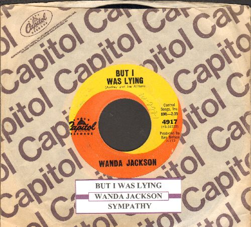 Jackson, Wanda - But I Was Lying/Sympathy (with juke box label and Capitol company sleeve) - EX8/ - 45 rpm Records