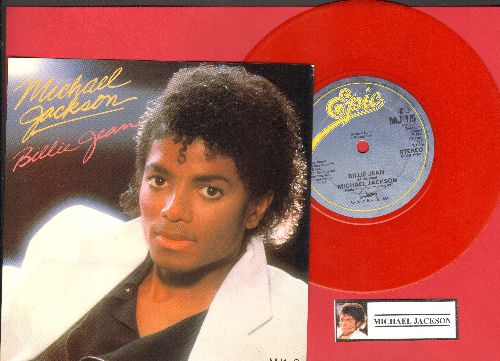 Jackson, Michael - Billie Jean/It's The Falling In Love (RED VINYL British Pressing with small spindle hole, with picture sleeve) - NM9/NM9 - 45 rpm Records