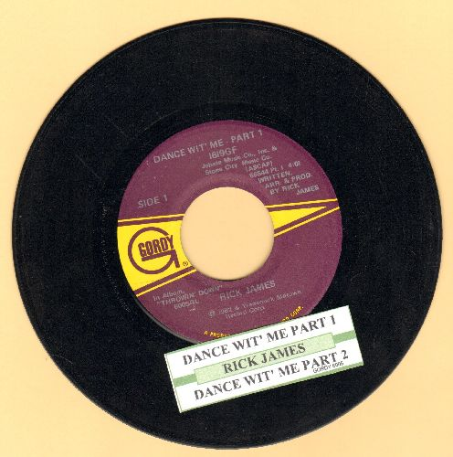 James, Rick - Dance With Me (Parts 1 +2) (with juke box label) - VG7/ - 45 rpm Records
