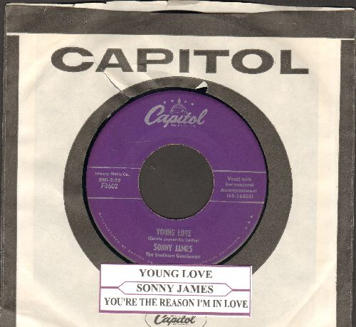 James, Sonny - Young Love/You're The Reason I'm In Love (purple label with Capitol company sleeve and juke box label) - EX8/ - 45 rpm Records
