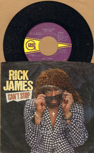James, Rick - Can't Stop/Oh What A Night (4 Luv) (with picture sleeve) - NM9/VG7 - 45 rpm Records