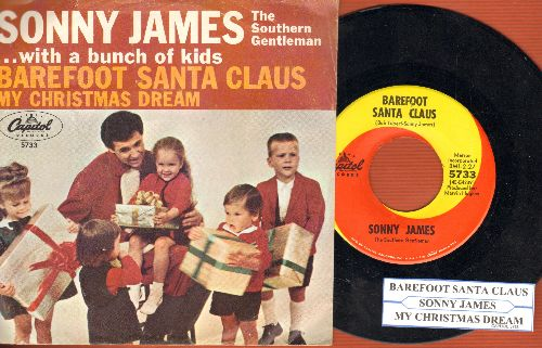 James, Sonny - My Christmas Dream/Barefoot Santa Claus (with picture sleeve and juke box label) - NM9/VG7 - 45 rpm Records