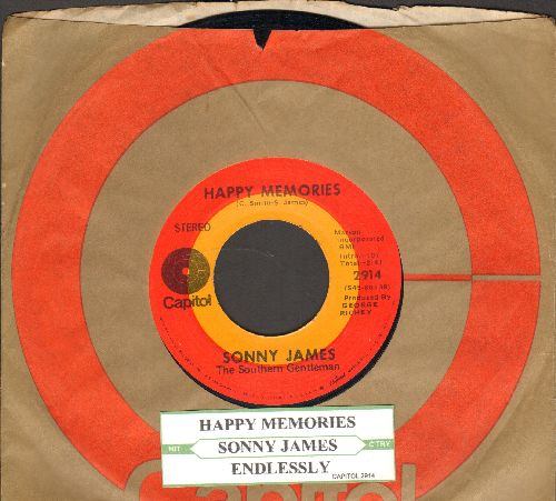 James, Sonny - Happy Memories/Endlessly (with juke box label and Capitol company sleeve) - EX8/ - 45 rpm Records