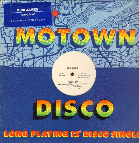 James, Rick - Love Gun (10:03 minutes Extended Disco Version)/Love Gun (3:45 minutes Radio Version) (12 inch Maxi Single with Motown cover, Radio-DJ Pressing) - NM9/ - 45 rpm Records