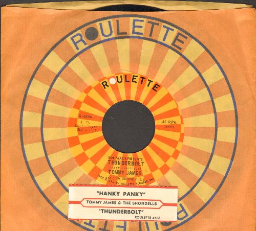 James, Tommy & The Shondells - Hanky Panky (PARTY FAVORITE!)/Thunderbolt (with juke box label and Roulette company sleeve) - NM9/ - 45 rpm Records