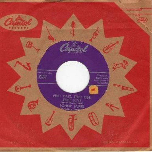 James, Sonny - First Date, First Kiss, First Love (ULTRA-DREAMY 50s Love-Ballad!)/Speak To Me (with vintage Capitol company sleeve) - EX8/ - 45 rpm Records