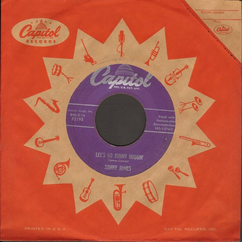 James, Sonny - Let's Go Bunny Huggin'/Too Much (with vintage Capitol company sleeve) - VG7/ - 45 rpm Records