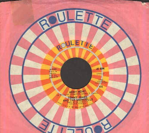 James, Tommy & The Shondells - Mony Mony (PARTY FAVORITE!)/One Two Three And I Fell (with Roulette company sleeve) - EX8/ - 45 rpm Records