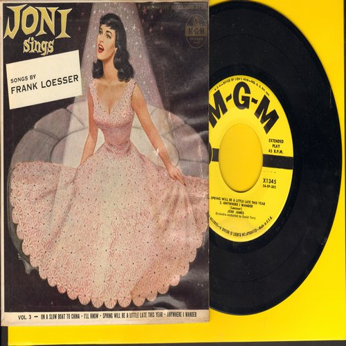 James, Joni - Joni Sings Songs By Frank Loesser: Spring Will Be A Little Late This Year/Anywhere I Wander/I'll Know/On A Slow Boat To China (Vinyl EP record with picture cover) - NM9/VG6 - 45 rpm Records