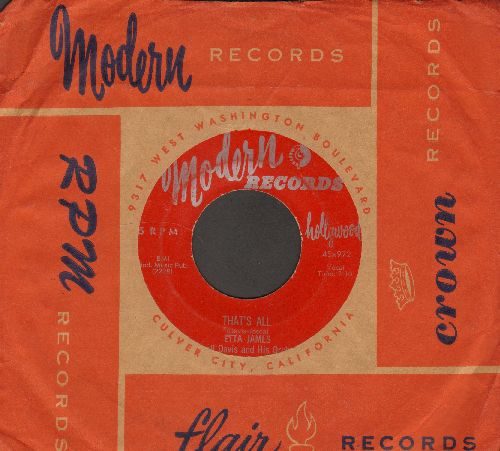 James, Etta - That's All/W-O-M-A-N (1955 burgundy label first pressing with RARE Vintage Modern company sleeve) - VG7/ - 45 rpm Records