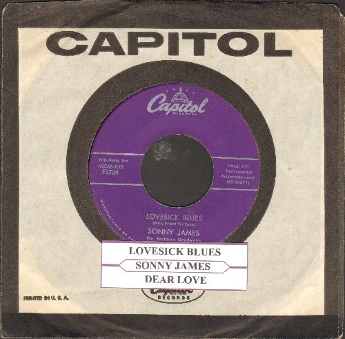 James, Sonny - Lovesick Blues/Dear Love (purple label first issue with juke box label and vintage Capitol company sleeve) - NM9/ - 45 rpm Records