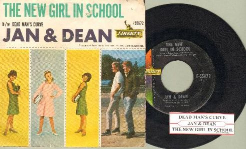 Jan & Dean - Dead Man's Curve/The New Girl In School (with juke box label and picture sleeve) - EX8/VG7 - 45 rpm Records