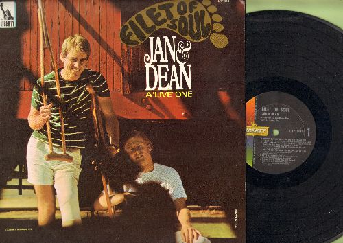 Jan & Dean - Filet Of Soul: Norwegian Wood, Lightning Strikes, Hang On Sloopy, Michelle, Dead Man's Curve, I Found A Girl, Everybody Loves A Clown, 1-2-3, You've Got To Hide Your Love Away (Vinyl MONO LP record) - NM9/EX8 - LP Records