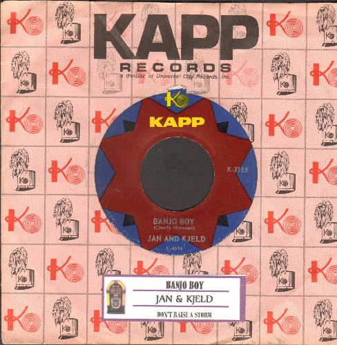 Jan & Kjeld - Banjo Boy (German)/Don't Raise A Storm (Mach doch nicht immer so viel Wind) (US Pressing with juke box label and KAPP company sleeve, sung in German) - NM9/ - 45 rpm Records
