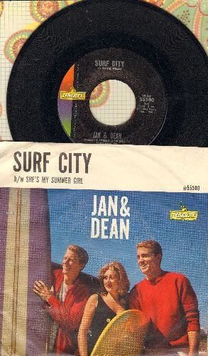 Jan & Dean - Surf City/She's My Summer Girl (with picture sleeve) - NM9/VG7 - 45 rpm Records