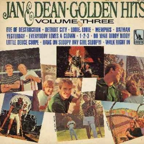 Jan & Dean - Golden Hits Volume Three: Batman, Do Wah Diddy Diddy, Hang On Sloopy, Little Deuce Coupe, Louie Louie, Yesterday, Walk Right In (Vinyl MONO LP record) - VG7/VG7 - LP Records