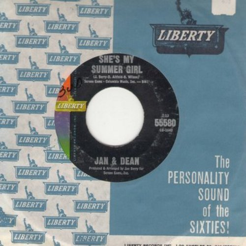Jan & Dean - Surf City/She's My Summer Girl (with vintage Liberty company sleeve) - VG7/ - 45 rpm Records