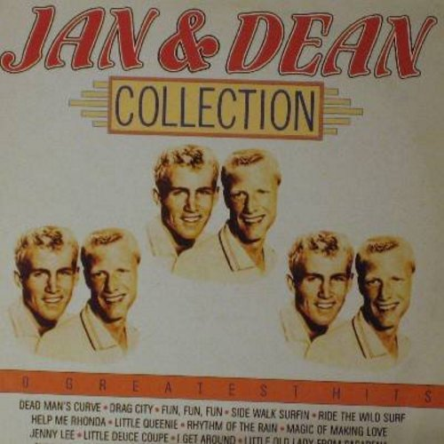Jan & Dean - Jan & Dean Collection - 20 Greatest Hits: Dead Man's Curve, Rhythm Of The Rain, I Get Around, Little Queenie, Help Me Rhonda, Surf City (Vinyl STEREO LP record, 1985 issue of vintage recordings) - M10/EX8 - LP Records