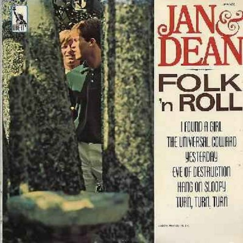 Jan & Dean - Folk 'N Roll: Yesterday, The Universal Coward, Hang On Sloopy, Turn Turn Turn, It Ain't Me Babe (Vinyl MONO LP record) - VG7/EX8 - LP Records