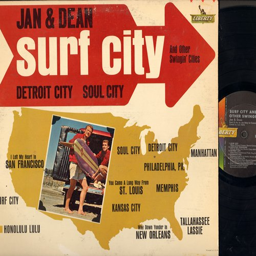 Jan & Dean - Surf City And Other Swingin' Cities: Memphis, Detroit City, Kansas City, Way Down Yonder In New Orleans, Honolulu Lulu, I Left My Heart In San Francisco (Vinyl MONO LP record) - EX8/EX8 - LP Records
