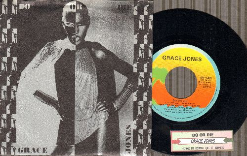 Jones, Grace - Do Or Die (DEFINITIVE Disco Song!)/Comme Un Oiseau Qui S'envole (Swedish Pressing with juke box label and picture sleeve) - NM9/NM9 - 45 rpm Records