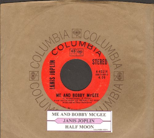 Joplin, Janis - Me And Bobby McGee/Half Moon (with juke box label and company sleeve) - EX8/ - 45 rpm Records