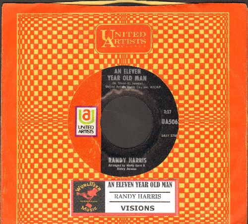 Harris, Randy - An Eleven Year Old Man/Visions (RARE Vietnam Era Folk 2-sider with vintage United Artists company sleeve and juke box label) - NM9/ - 45 rpm Records