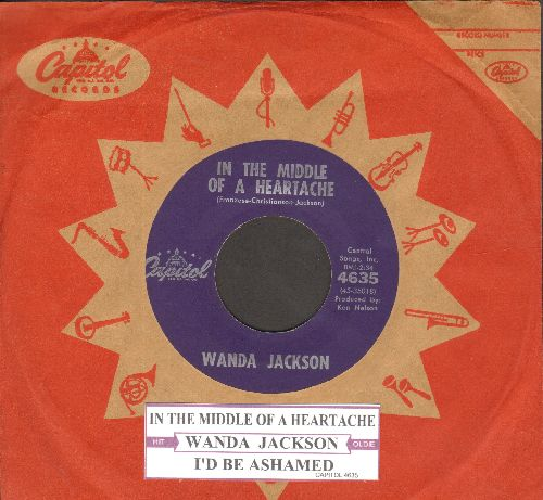 Jackson, Wanda - In The Middle Of A Heartache/I'd Be Ashamed (purple label early issue with juke box label and vintage Capitol company sleeve)  - EX8/ - 45 rpm Records