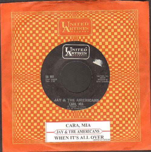 Jay & The Americans - Cara, Mia/When It's All Over (with United Artists company sleeve) - NM9/ - 45 rpm Records