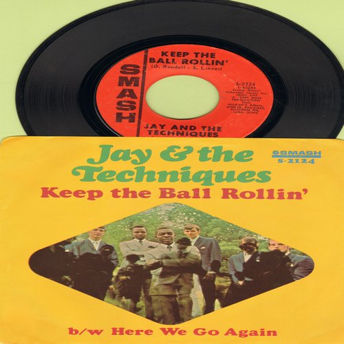 Jay & The Techniques - Here We Go Again/Keep The Ball Rollin' (with picture sleeve) - EX8/NM9 - 45 rpm Records