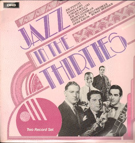 Venuti, Joe, Eddie Lang, Adrian Rollini, others - Jazz In The Thirties: Doin' The Uptown Lowdown, Pink Elephants, Texas Tea Party (2 vinyl LP records, Canadian re-issue of vintage Jazz recordings) - NM9/EX8 - LP Records