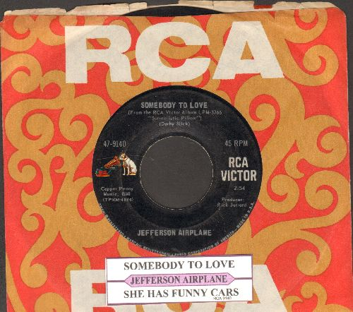 Jefferson Airplane - Somebody To Love/She Has Funny Cars (with juke box label and RCA company sleeve) - NM9/ - 45 rpm Records
