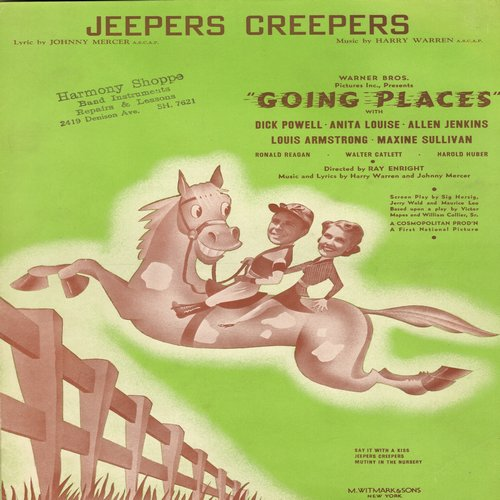 Armstrong, Louis - Jeepers Creepers - Vintage SHEET MUSIC for the Standard featured in film -Going Places- and recorded by Louis Armstrong. (rubber stamp on cover) - EX8/ - Sheet Music
