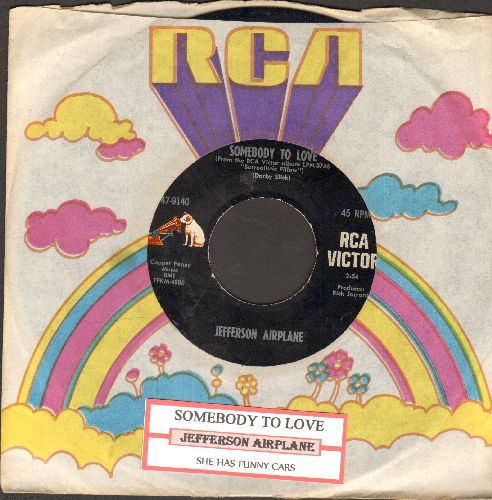 Jefferson Airplane - Somebody To Love/She Has Funny Cars (with juke box label and RCA company sleeve) - EX8/ - 45 rpm Records
