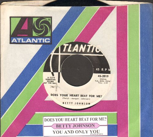 Johnson, Betty - Does Your Heart Beat For Me/You And Only You (DJ advance pressing with juke box label and company sleeve) - EX8/ - 45 rpm Records