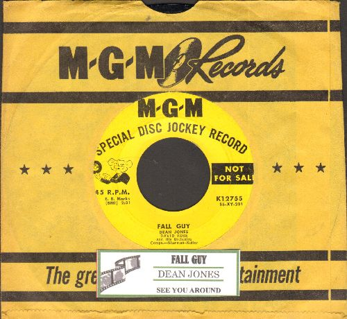 Jones, Dean - Fall Guy/See You Around (DJ advance pressing with juke box label and vintage MGM company sleeve) - NM9/ - 45 rpm Records