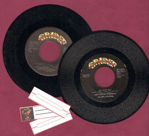 Jefferson Starship - 2 first issue 45rpm records for the price of 1! Hits include Crazy Feelin' and No Way Out. Shipped in plain paper sleeves with 3 blank juke box labels. - EX8/ - 45 rpm Records