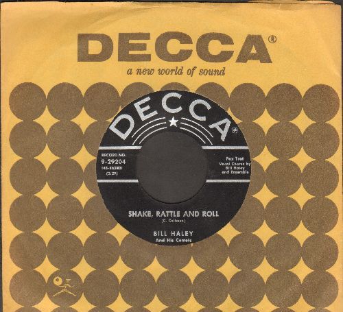 Haley, Bill & His Comets - Shake, Rattle And Roll/A.B.C. Boogie (black label/star & silver lines first issue with vintage Decca company sleeve) - EX8/ - 45 rpm Records