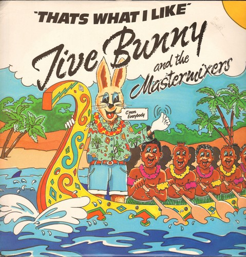 Jive Bunny & The Matermixers - That's What I Like (5:23 minutes Extended Twist Mix)/Pretty Blue Eyes/Twlve Bar Thingy (John Anderson Band) (12 inch vinyl Maxi Single with picture cover, British Pressing) - NM9/NM9 - Maxi Singles