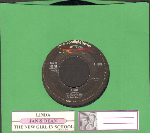 Jan & Dean - Linda/The New Girl In School (1970s re-issue of vintage recordings with juke box label) - NM9/ - 45 rpm Records