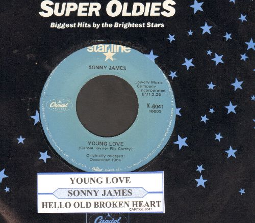 James, Sonny - Young Love/Hello Old Broken Heart (double-hit re-issue with juke box label and Capitol company sleeve) - NM9/ - 45 rpm Records