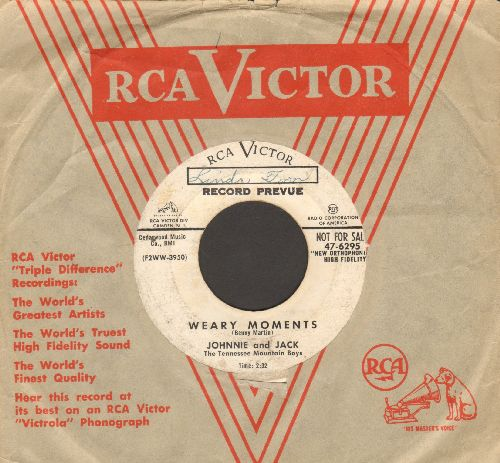 Johnnie & Jack - Weary Moments/S.O.S. (DJ advance pressing with vintage RCA company sleeve) - VG7/ - 45 rpm Records