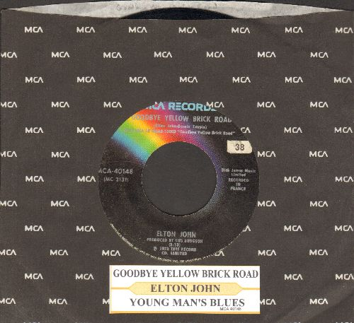 John, Elton - Goodbye Yellow Brick Road/Young Man's Blues (with juke box label and MCA company sleeve) - VG7/ - 45 rpm Records