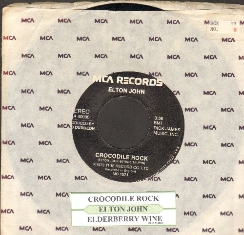 John, Elton - Crocodile Rock/Elderberry Wine (with juke box label and MCA company sleeve) - EX8/ - 45 rpm Records