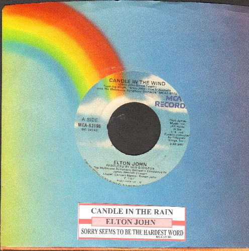 John, Elton - Candle In The Wind (first issue with juke box label and MCA company sleeve sleeve, original version written as tribute to Marilyn Monroe, later inspired tribute to Princess Diana,  juke box label)/Sorry Seems To Be The Hardest Word - EX8/ -
