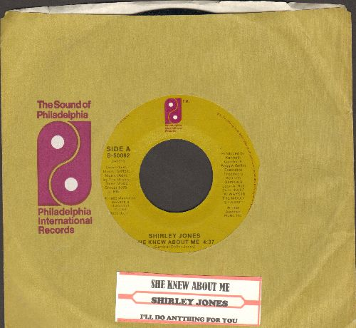 Jones, Shirley - She Knew About Me/I'll Do Anything For You (with juke box label and company sleeve) - NM9/ - 45 rpm Records
