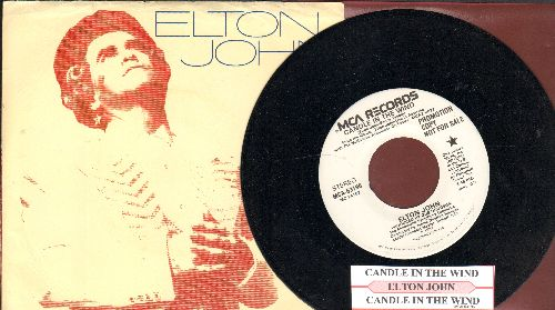 John, Elton - Candle In The Wind (double-A-sided DJ advance pressing with picture sleeve, original version written as tribute to Marilyn Monroe, later inspired tribute to Princess Diana, lyrics on back of picture sleeve and juke box label) - NM9/EX8 - 45