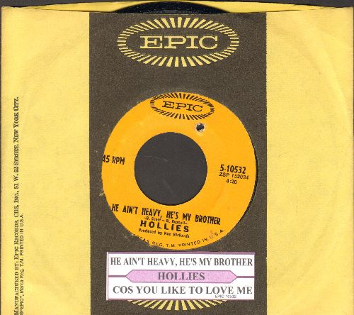 Hollies - He Ain't Heavy, He's My Brother/Cos You Like To Love Me (with juke box label and company sleeve)(bb) - NM9/ - 45 rpm Records