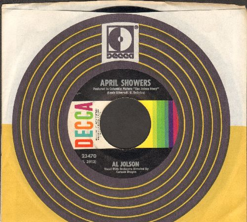 Jolson, Al - April Showers/Swanee (1960s issue of vintage recordings, with Decca company sleeve) - EX8/ - 45 rpm Records