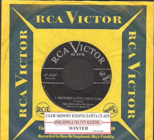 Jones, Spike & The City Slickers - I Saw Mommy Kissing Santa Claus/Winter (with juke box label vintage RCA company sleeve) - VG7/ - 45 rpm Records